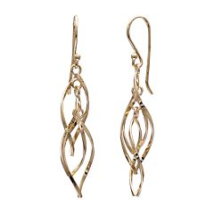 PRIMROSE 14k Gold Over Silver Twisted Oval Drop Earrings
