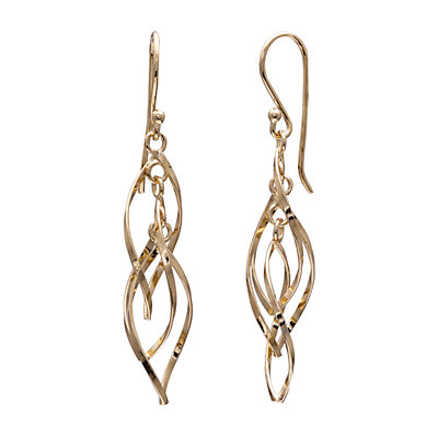 PRIMROSE 18k Gold Over Silver Twisted Oval Drop Earrings