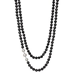 Sterling Silver Black Spinel & Freshwater Cultured Pearl Double Row Necklace