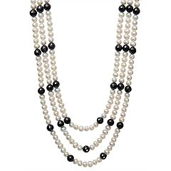 Sterling Silver Freshwater Cultured Pearl & Black Spinel Triple Row Necklace