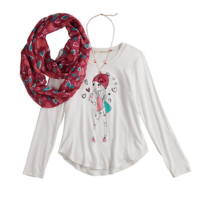 Girls 7-16 & Plus Size Self Esteem High-Low Graphic Top Set with Scarf & Necklace