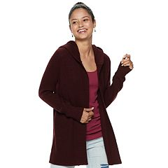 Juniors' Mudd® Ribbed Hooded Cardigan