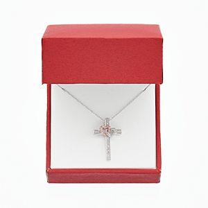 Two Tone Sterling Silver 1/10 Carat T.W. Diamond Interlocking Heart & Cross Pendant