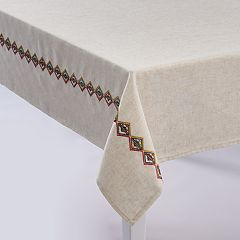 Mainstreet Embroidered Linen Tablecloth