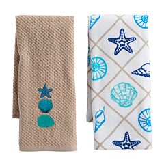 Mainstreet Tan Seashell Kitchen Towel 2-pack