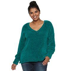 Juniors' Plus Size Mudd® Chenille Sweater