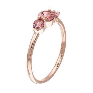 LC Lauren Conrad 10k Rose Gold Pink Tourmaline 3-Stone Ring