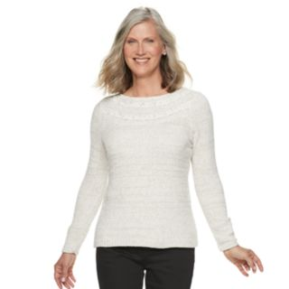 Petite Croft & Barrow® Chenille Boatneck Sweater