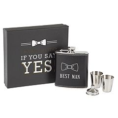 Cathy's Concepts Best Man Leather-Wrapped Flask Set