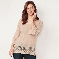 Petite LC Lauren Conrad Pointelle Scoopneck Sweater