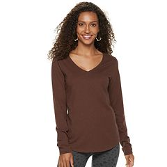 16ff18e3 Womens Brown V-Neck T-Shirts Long Sleeve Tops, Clothing | Kohl's