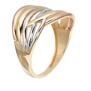 Tri-Tone 10k Gold Crossover Ring