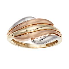 Tri-Tone 10k Gold Wave Ring