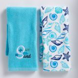 Mainstreet Blue Sun Sea Sand Kitchen Towel 2-pack