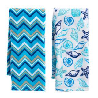 Mainstreet Pattern Seashell Kitchen Towel 2-pack