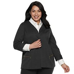 Plus Size Dana Buchman Textured Zipper-Pocket Jacket