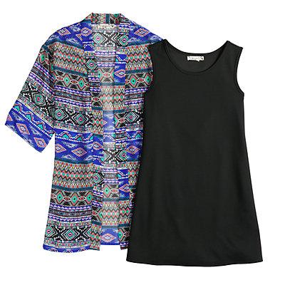 Girls 7-16 & Plus Size Knitworks Sleeveless Dress & Graphic Print Kimono