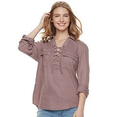 Juniors' SO® Lace-Up Utility Shirt