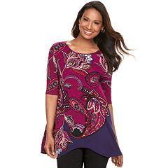 Women's Dana Buchman Paisley Shark-Bite Top