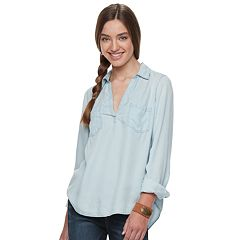 Juniors' Mudd® Chambray Popover Tunic