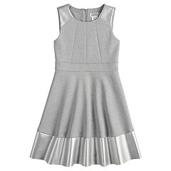 Girls 7-16 Lavender Fit & Flare Scuba Dress