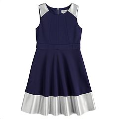 Girls 7-16 Lavender Fit & Flare Scuba Dress