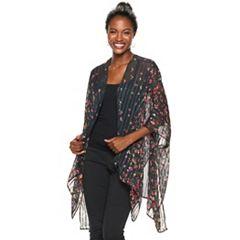 Women's Apt. 9® Satin Striped Floral Ruana