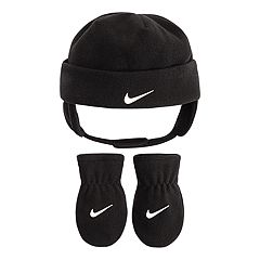 Baby Boy Nike Black Fleece Trapper Hat & Mittens Set