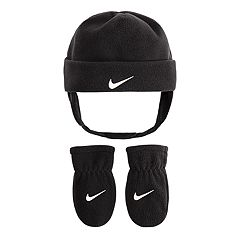 Baby Boy Nike Gray Fleece Trapper Hat & Mittens Set