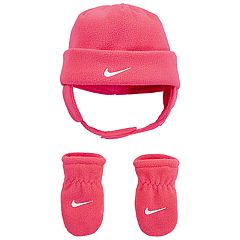 Baby Girl Nike Fleece Hat & Mittens Set