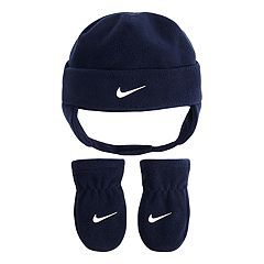 Baby Boy Nike Navy Blue Fleece Trapper Hat & Mittens Set