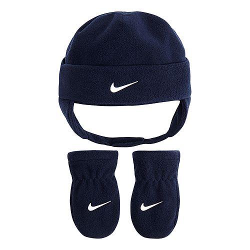 Baby Boy Nike Navy Blue Fleece Trapper Hat   Mittens Set f46d0f209ee
