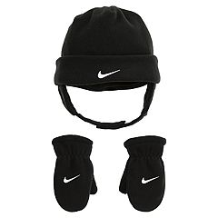 Toddler Boy Nike Black Fleece Trapper Hat & Mittens Set