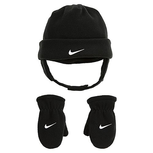 Toddler Boy Nike Black Fleece Trapper Hat   Mittens Set e89b9a5fc