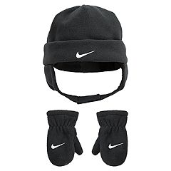 Toddler Boy Nike Gray Fleece Trapper Hat & Mittens Set