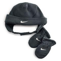 Toddler Boy Nike Gray Fleece Trapper Hat & Mittens Set