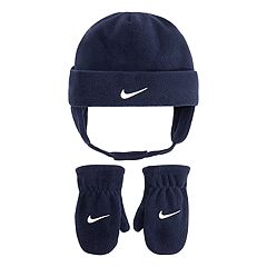 Toddler Boy Nike Navy Blue Fleece Trapper Hat & Mittens Set
