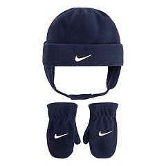 Toddler Boy Nike Navy Blue Fleece Trapper Hat & Mittens Set