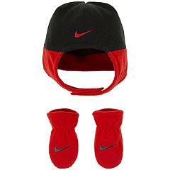 Baby Boy Nike Red & Black Fleece Trapper Hat & Mittens Set
