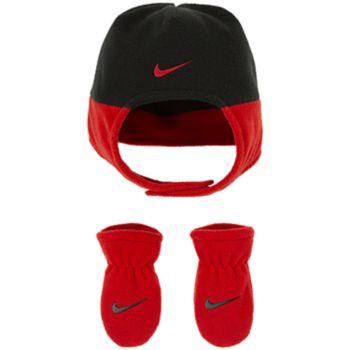 Baby Boy Nike Red & Black Fleece Trapper Hat & Mittens Set