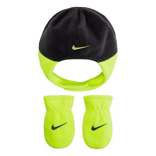 Baby Boy Nike Fleece Trapper Hat   Mittens Set e35e9ff1fcf