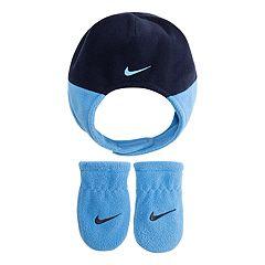 Baby Boy Nike Blue Fleece Trapper Hat & Mittens Set