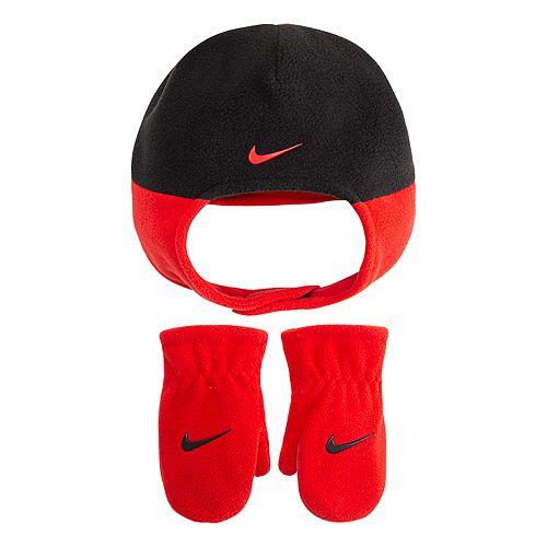 Toddler Boy Nike Red & Black Fleece Trapper Hat & Mittens Set