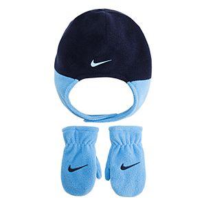 Toddler Boy Nike Blue Fleece Trapper Hat & Mittens Set