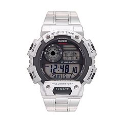 Casio Men's Stainless Steel Digital World Time Chronograph Watch - AE1400WHD-1AV