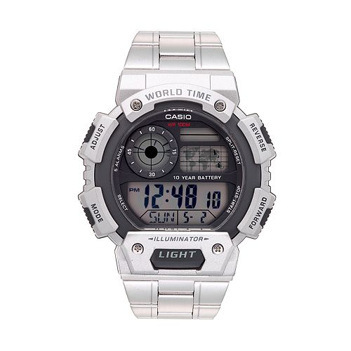 a9738b160 Casio Men's Stainless Steel Digital World Time Chronograph Watch ...