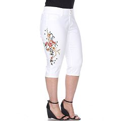 Plus Size White Mark High Rise Floral Embriodery Capris