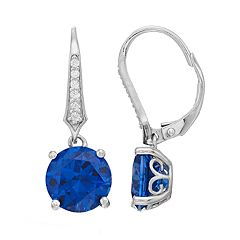 Sterling Silver Simulated Blue Sapphire Leverback Earrings