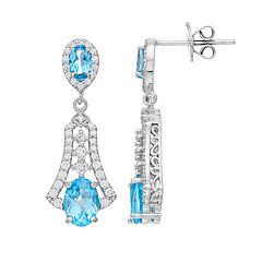 Sterling Silver Swiss Blue Topaz Filigree Drop Earrings