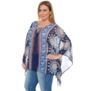 Plus Size White Mark Printed Chiffon Poncho